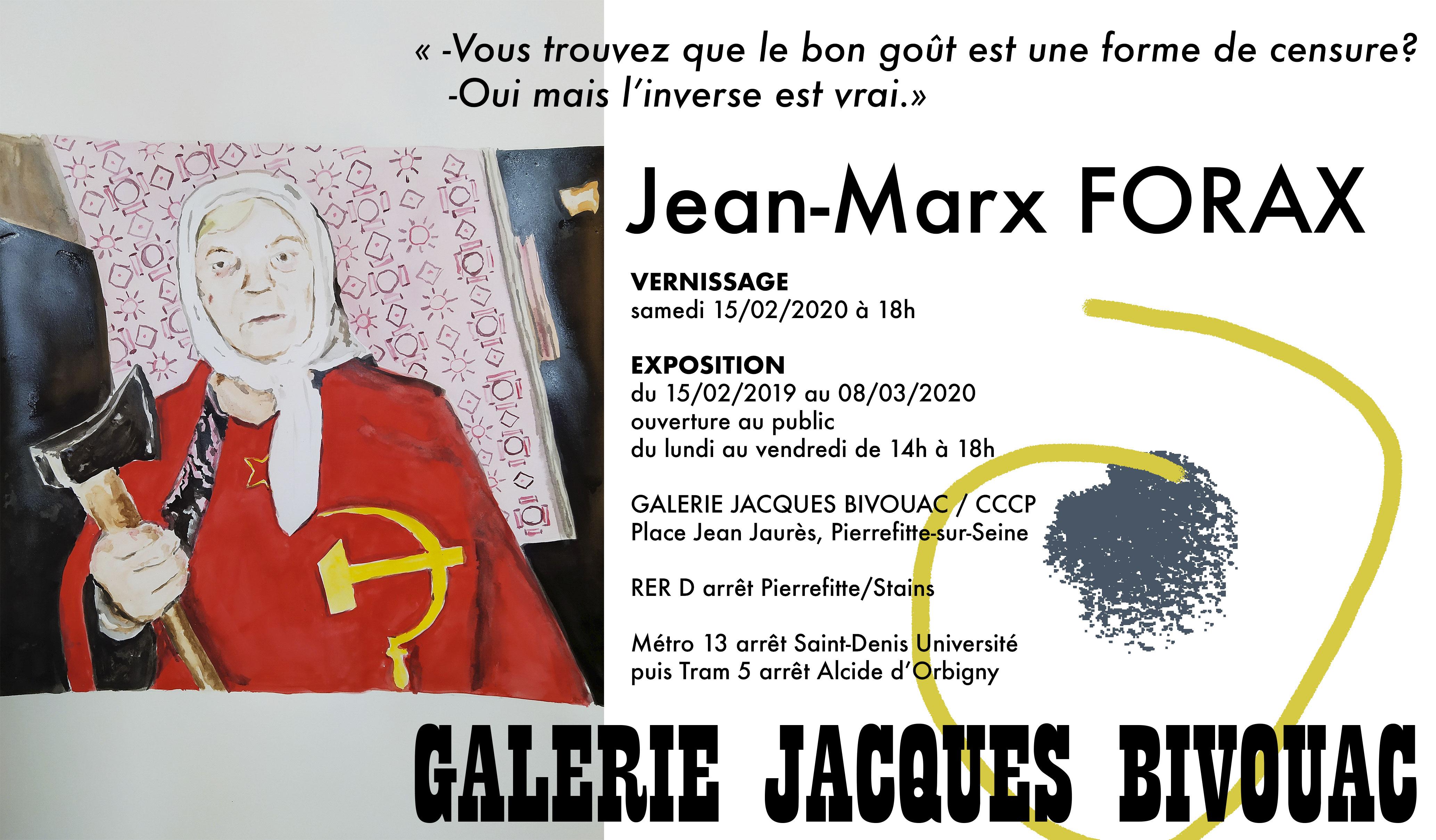 Galerie-Jacques-BIVOUAC-Jean-Marx-FORAX